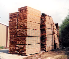 Stacked and Stickered Lumber